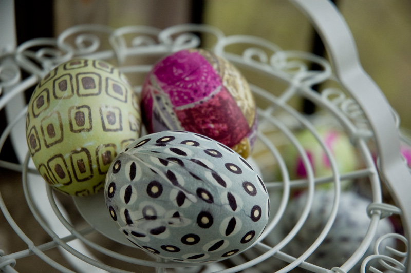 Dye Easter eggs simply and beautifully using silk scarves and neckties.