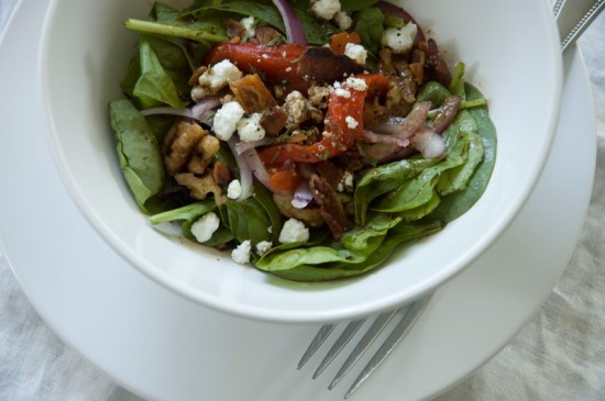 Spinach salad with warm bacon vinaigrette | Knuckle Salad