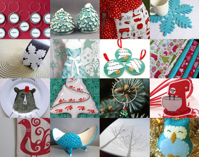 A bunch of holiday-themed kitchen items on Etsy that I love