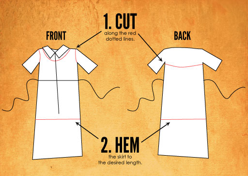 Cut the collar and sleeves off the dress and bring the skirt up to knee length.