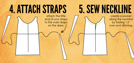 "Attach your straps to the ends of the waist ties, and sew about a 1"" casing along each side of the neckline, opening in the middle."