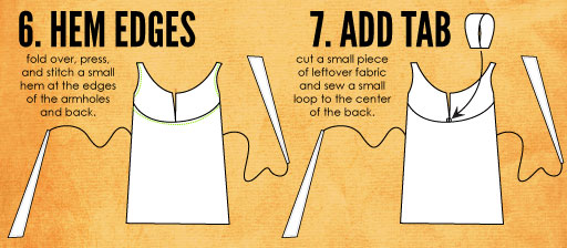 Hem the edges and sew a little loop to the back of the dress.
