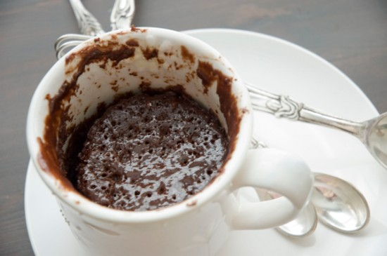 One Instant Fudgy Brownie Cake in a mug