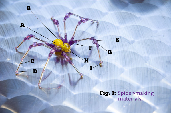 What you need to make a creepy beaded spider