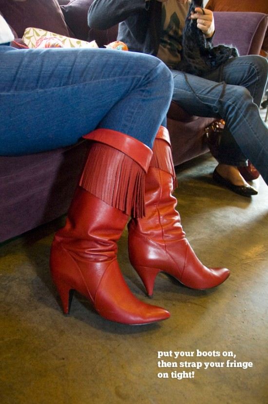 Killer red fringed boots!