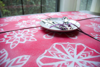 Four snowflake placemats