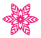 Download the template for a poinsettia snowflake