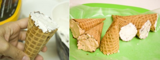 Carefully fill the cone with softened ice cream.