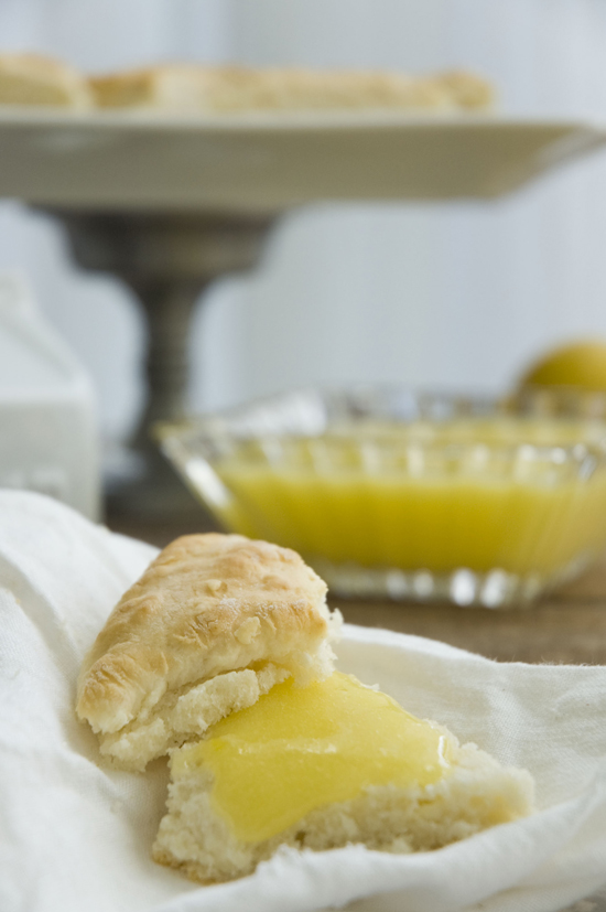 Lemon curd on a fresh scone