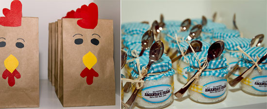 Andrea's chicken goodie bags, and gifts for the mothers