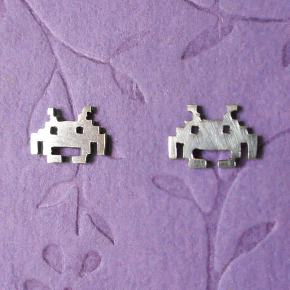Space Invaders stud earrings by PicaPicaPress