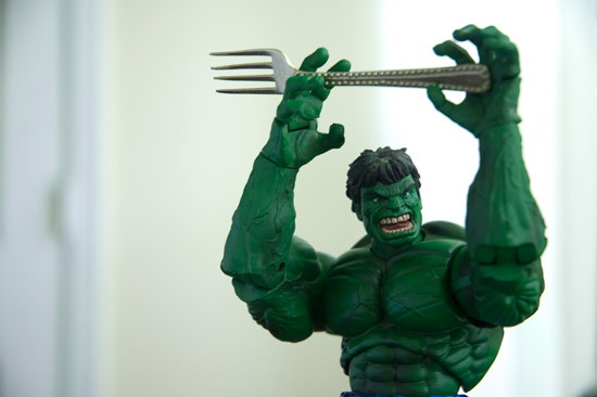 Incredible Hulk action figure with doll-size fork