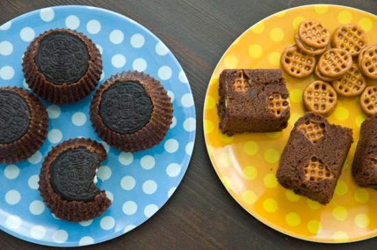 Oreo brownie cups and peanut butter pretzel brownie bars