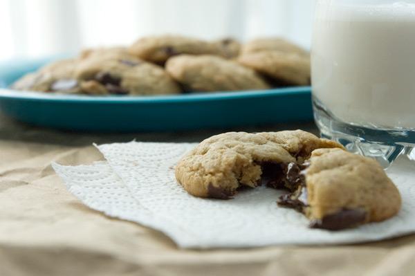 Warm peanut butter banana chocolate chunk cookies