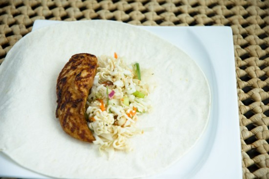 Spicy Asian chicken wrap