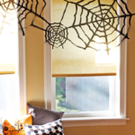 Garbage bag spider webs from How About Orange