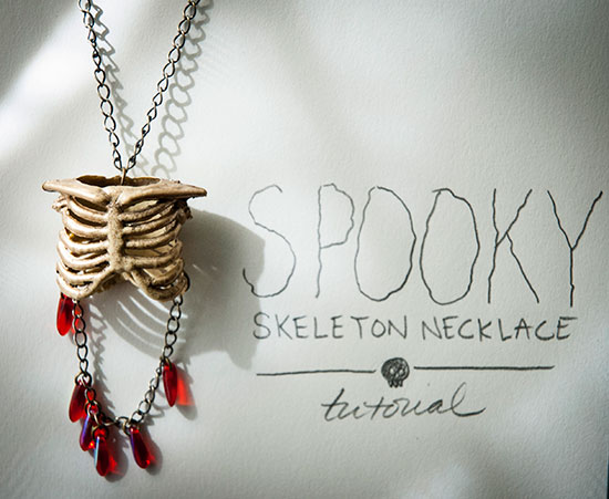 Make this spooky skeleton necklace out of a dollar store decoration!
