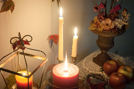 Candles and flowers for fall