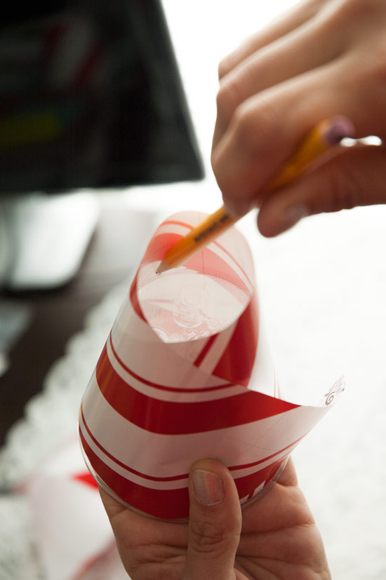 Trace the bottom of the cup, then cut.