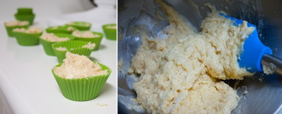 Muffin batter. Thick. Dense.