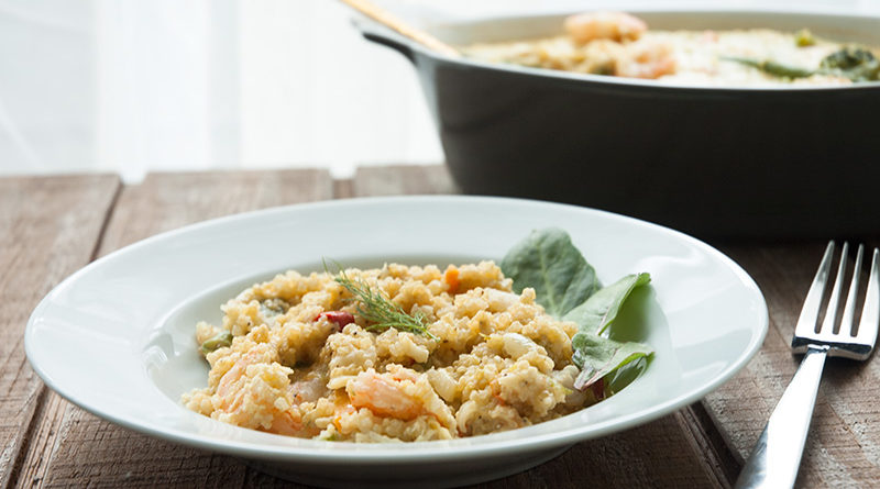 Baked Quinoa with Shrimp and Veggies