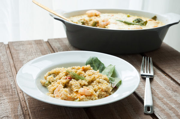 Cheesy baked quinoa with shrimp, veggies, and lots of shortcuts