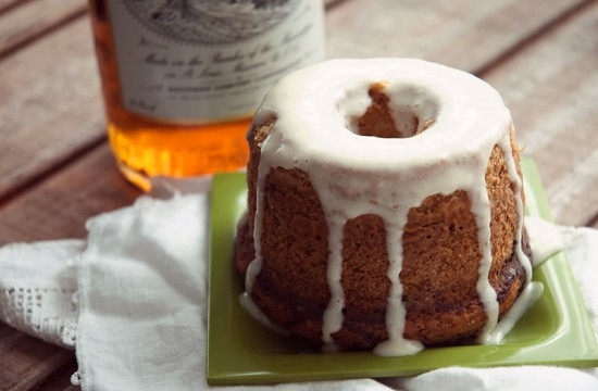 Southern Comfort cake with honey cream cheese glaze