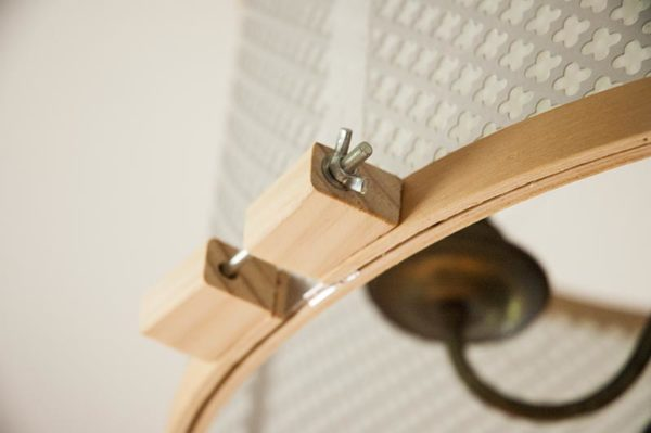 These little blocks are how you can tell Knuckle Salad's DIY drum shade is made from embroider hoops.