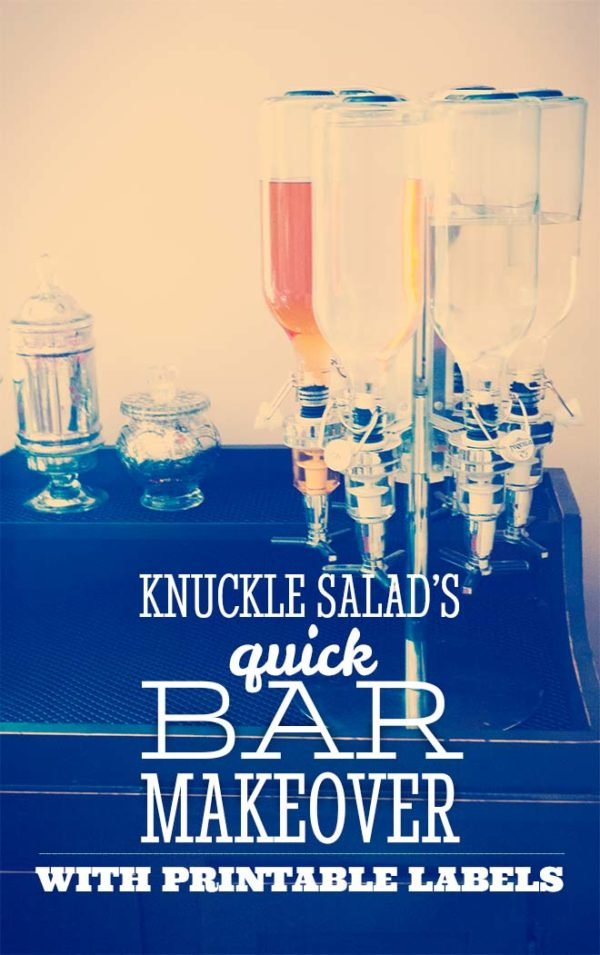 Knuckle Salad's quick bar bottle makeover, with printable stopper labels!