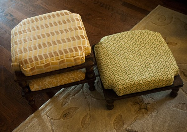 Ethan Allen stacking stools, reupholstered