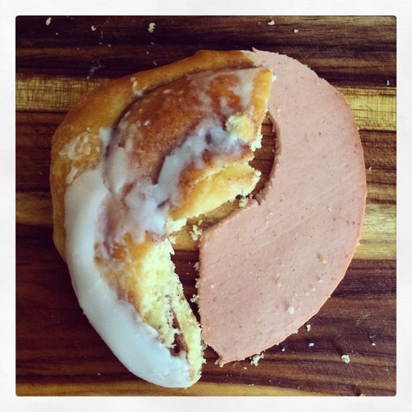 A slice of bologna on a cinnamon roll strikes the perfect balance!