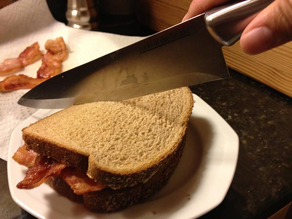 Peanut butter, banana and bacon sandwich