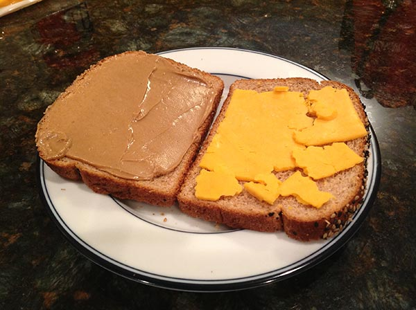 Peanut butter grilled cheese process