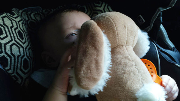 Quiet, happy baby can hold on to his own pacifier in the car, thanks to this two-stitch DIY bunny!