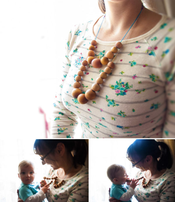 Dye and string your own baby-safe teething necklaces.