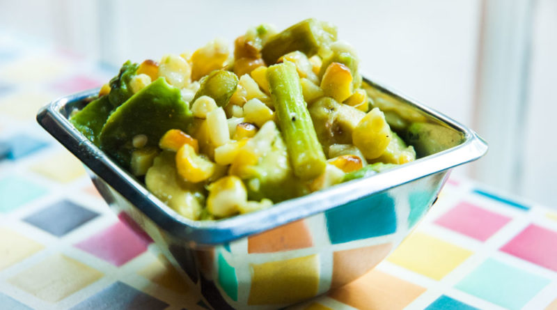 Easy Summer Veggie Salad with Roasted Corn, Asparagus and Avocado. Serve hot or cold.