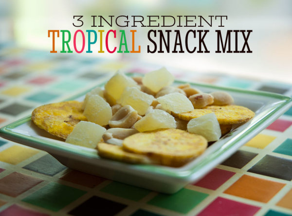 If you put three different snacks in one bowl, that is technically a Snack Mix. This 3-ingredient Tropical Snack Mix does not disappoint.